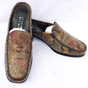 Stuart Weitzman Embossed Leather Snakeskin Mules